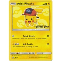 Ash's Pikachu SM111 Black Star Promo Pokemon Card NEAR MINT TCG