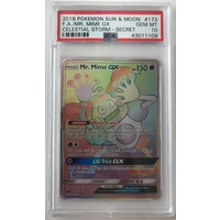 PSA 10 GEM MINT MR. MIME GX HYPER RAINBOW RARE CELESTIAL STORM 173 POKEMON CARD