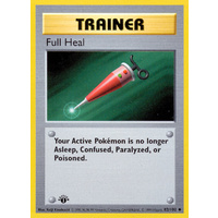 Full Heal 82/102 Base Set 1st Edition Shadowless Uncommon Trainer Pokemon Card NEAR MINT TCG