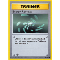Energy Removal 92/102 Base Set 1st Edition Shadowless Common Trainer Pokemon Card NEAR MINT TCG