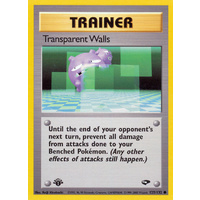 Transparent Walls 125/132 Gym Challenge 1st Edition Common Trainer Pokemon Card NEAR MINT TCG