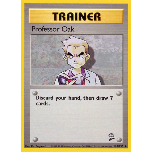 Professor Oak 116/130 Base Set 2 Uncommon Trainer Pokemon Card NEAR MINT TCG