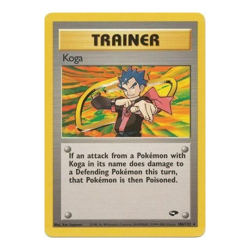 Koga 106/132 Gym Challenge Unlimited Rare Trainer Pokemon Card NEAR MINT TCG