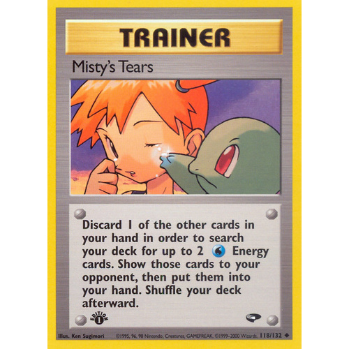 Misty's Tears 118/132 Gym Challenge 1st Edition Uncommon Trainer Pokemon Card NEAR MINT TCG
