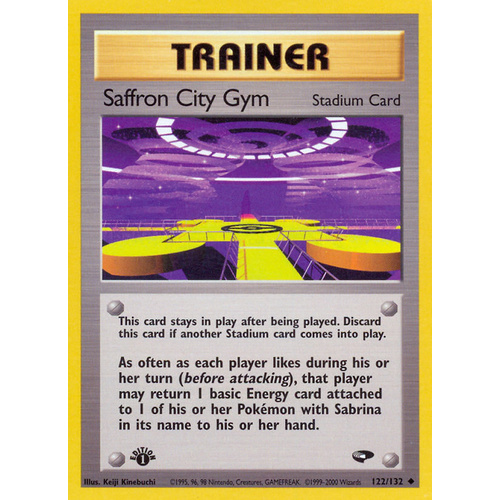Saffron City Gym 122/132 Gym Challenge 1st Edition Uncommon Trainer Pokemon Card NEAR MINT TCG