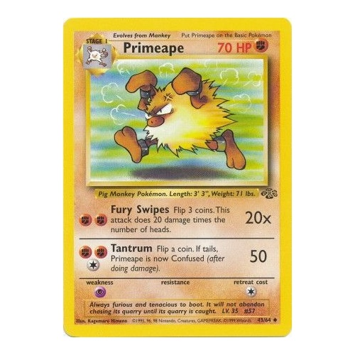 Primeape 43/64 Jungle Set Unlimited Uncommon Pokemon Card NEAR MINT TCG